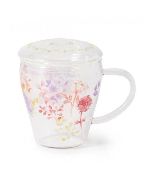 EL40 水彩フラワー柄耐熱ガラスマグカップ