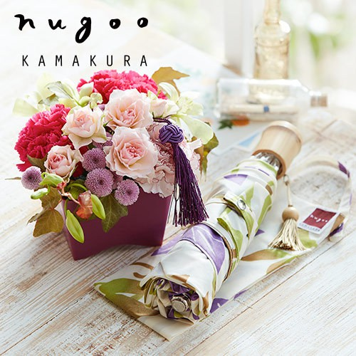nugoo「折畳晴雨兼用日傘」と母の日アレンジメントのセット