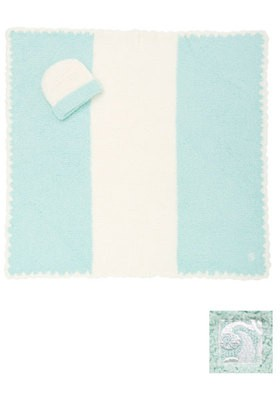 BABY BLANKET CENTER STRIPE & CAP