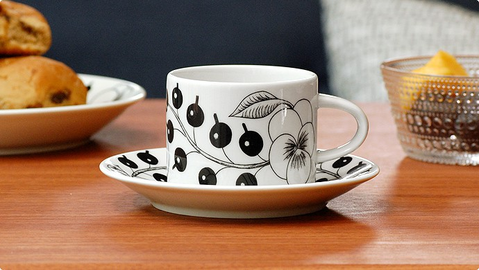 [Paratiisi(パラティッシ)ブラック]コーヒーカップ&ソーサー