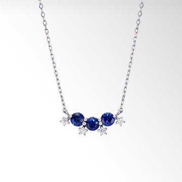 BLUE SAPPHIRE & DIAMOND STAR NECKLACE