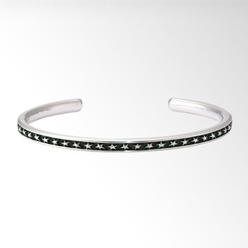 OXIDIZED SILVER STAR BANGLE(L)