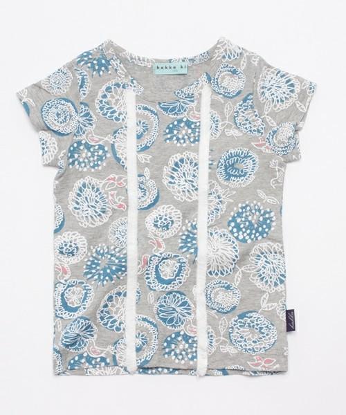 幾何フラワープリントバードTシャツ