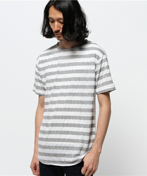 AMERICAN RAG CIE ロング丈ボーダーカットソー