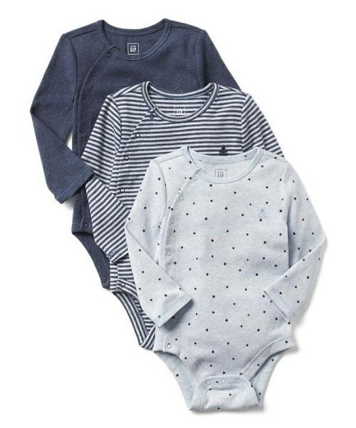 Gap ストライプ長袖キモノ ボディシャツ(3枚組)