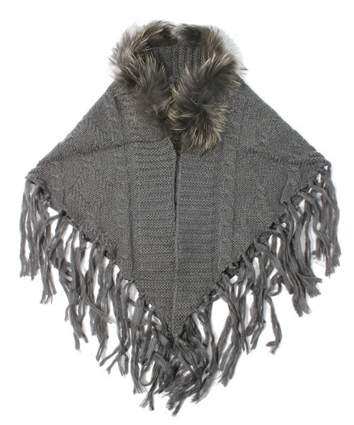 LR-13211 KNITTED FRINGE STOLE W/RACCOON