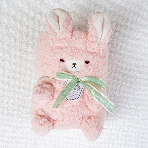 [キートス]もこもこキュートなアニマルブランケット[ひざ掛け/動物/リボン/かわいい/ギフト] (ウサギ)